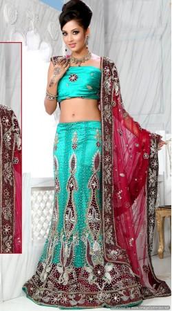 RB326025 Turquoise Bridal Net Lehenga Choli