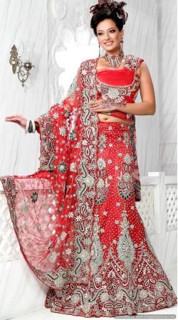 RB326028 Red Bridal Net Lehenga Choli