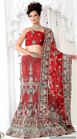 RB326029 Red Bridal Net Lehenga Choli