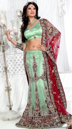 RB326030 Pastel Green And Red Bridal Net Lehenga Choli