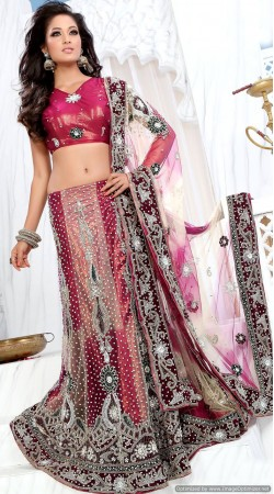 RB326031 Crimson And Dusty Salmon Bridal Net Lehenga Choli