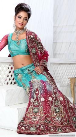 RB326032 Turquoise And Red Bridal Net Lehenga Choli
