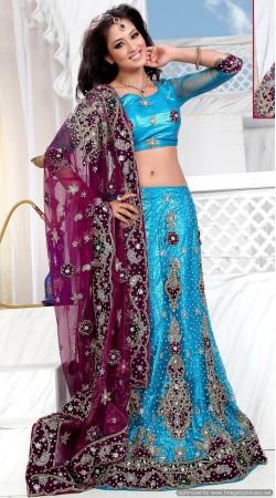 RB326036 Firozi Bridal Net Lehenga Choli