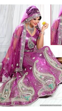 RB326039 Purplish Pink Bridal Net Lehenga Choli