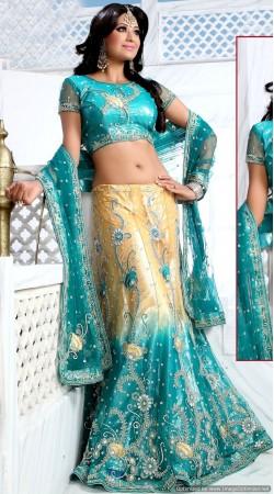 RB326041 Turquoise And Golden Cream Bridal Net Lehenga Choli