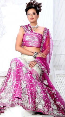 RB326043 White And Dark Pink Bridal Net Lehenga Choli