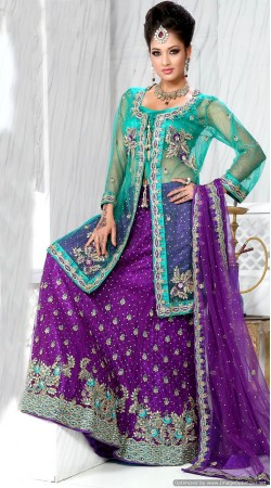RB326045 Turquoise And Violate Bridal Net Lehenga Choli