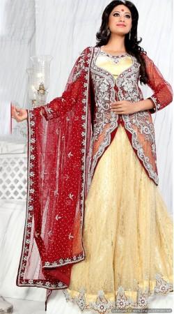 RB326046 Red And Golden Cream Bridal Net Lehenga Choli