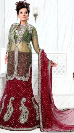 RB326047 Mehendi Green And Dark Red Bridal Net Lehenga Choli