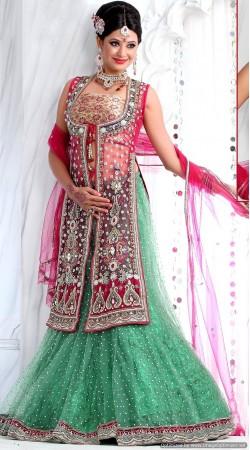 RB326048 Reddish Pink And Light Sea Green Bridal Net Lehenga Choli