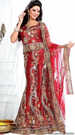 RB326052 Red Bridal Net Lehenga Choli