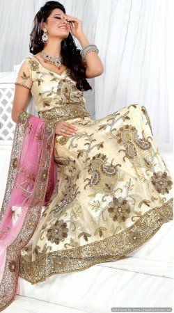 RB326053 Dusty Cream Bridal Net Lehenga Choli