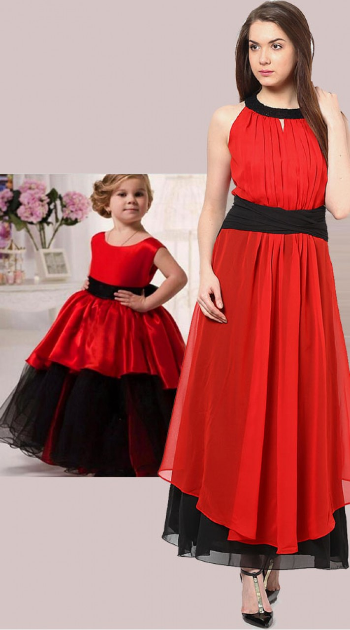 Red And Black Designer Dress For Mom And Little Baby Bp3054