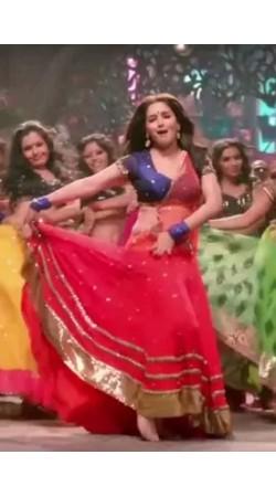 Red And Blue Madhuri Dixit Dance Costume Lehenga BP0827