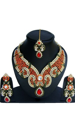 Red And Bottel Green Stone Work Necklace Set With Maang Tika NNP73102