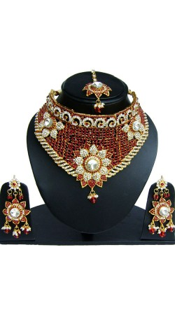 Red And White Stone Work Necklace Set With Tika NNP82706