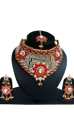 Red And White Stone Work Party Wear Necklace Set NNP83207