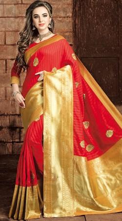 Red Art Raw Silk Big Broad Border Saree 2WV0715