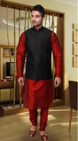 Red Art Silk Black Nehru Jacket Style Kurta Pyjama DTKPJ533