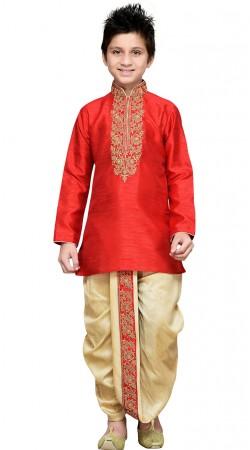 Red Art Silk Dhoti Kurta For Kid Boy GR12810