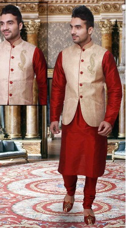Red Art Silk Long Cream Nehru Jacket Style Kurta Pyjama DTKPJ133