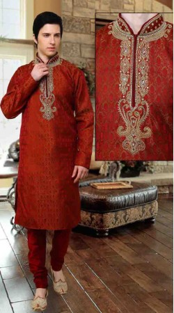 Red Banarsi Brocade And Art Dupion Silk Kurta Payjama DTKP10938