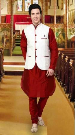 Red Banarsi Kela Nehru Waist Coat Style Kurta Pyjama DTKPJ11438