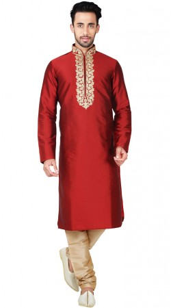 Red Bangalore Silk Embroidery Work Kurta Pajama GR146311