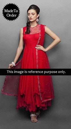 Red Chiffon And Net Replica Long Length Anarkali Suit 006