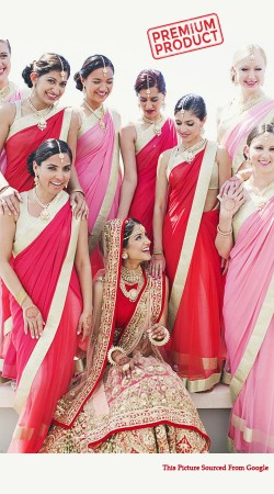 Red Faux Georgette Bridesmaid Saree With Lace Border BP0441