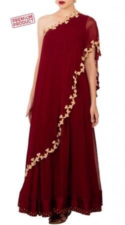 Red Chiffon Designer One Shoulder Anarkali Suit BP4134