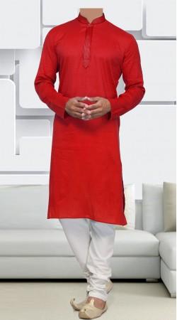 Red Cotton Men Long Sleeves Kurta Pajama SIDCW646