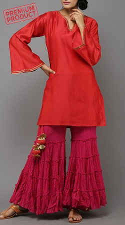 Red Cotton Short Kurti With Sharara Pant BP2645