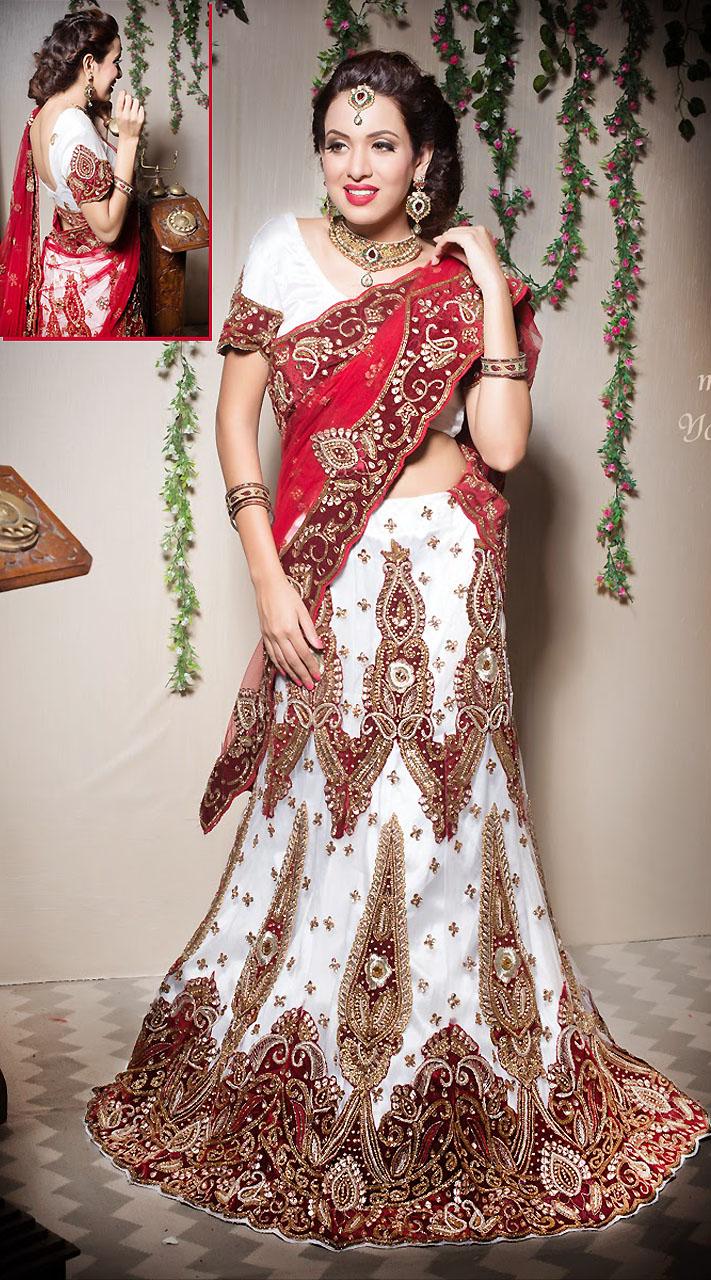 Red Dupatta White Net Semi Bridal Lehenga LD003705