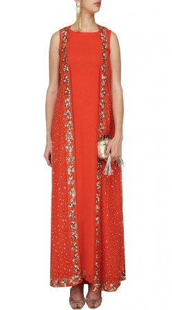 Red Georgette And Net Plus Size Salwar Kameez SUUDS48129