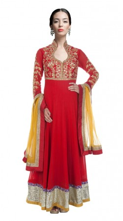 Red Georgette Ankle Length Anarkali Suit With Yellow Dupatta SUUDS28304