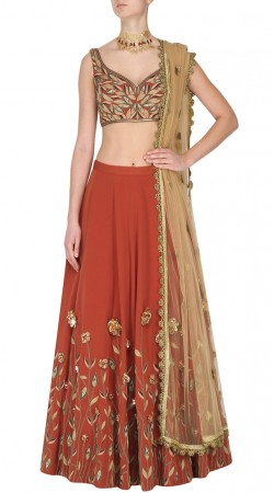 Red Georgette Crop Top Lehnega For Party SUUDL30231