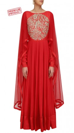 Red Georgette Designer Extra Long Sleeves Kameez SUMS28421