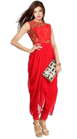 Red Georgette Designer Suit SU7601