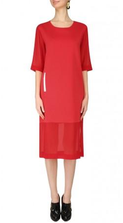 Red Georgette Knee Length Kurti SUUDK21123