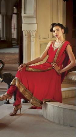 Red Georgette Long Length Anarkali Suit SU9401