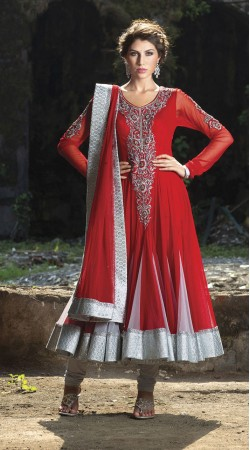 Red Georgette Long Length Anarkali Suit SU9501