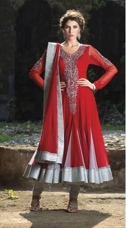 Red Georgette Long Length Anarkali Suit SU9501