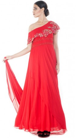 Red Georgette One Shoulder Gown Suit SUUDS52830