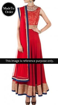 Red Georgette Replica Long Length Anarkali Suit 013