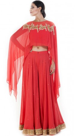 Red Georgette Sharara Pant With Cape Style Crop Top SUUDS51430