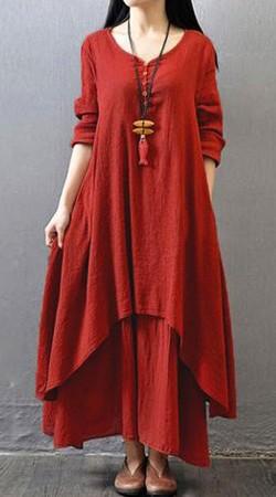 Red Handkerchief Hemline Kameez With Palazzo Pant BP1047