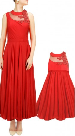 Red Mother Daughter Matching Midi Dress For Party BPS139A08
