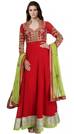 Red Faux Georgette Ankle Length Anarkali Suit SUUDS19602