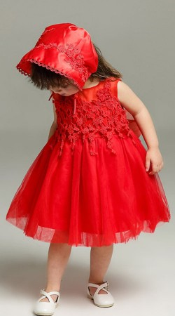 Red Net Baby Frock With Floral Work BP0653